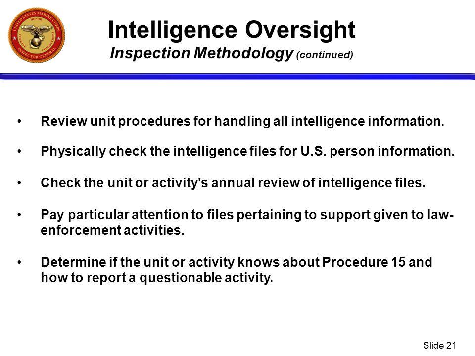 Intelligence Oversight Inspection Methodology (continued)