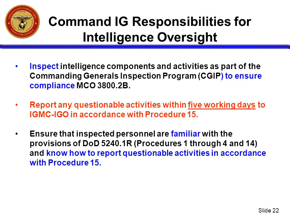 Command IG Responsibilities for Intelligence Oversight