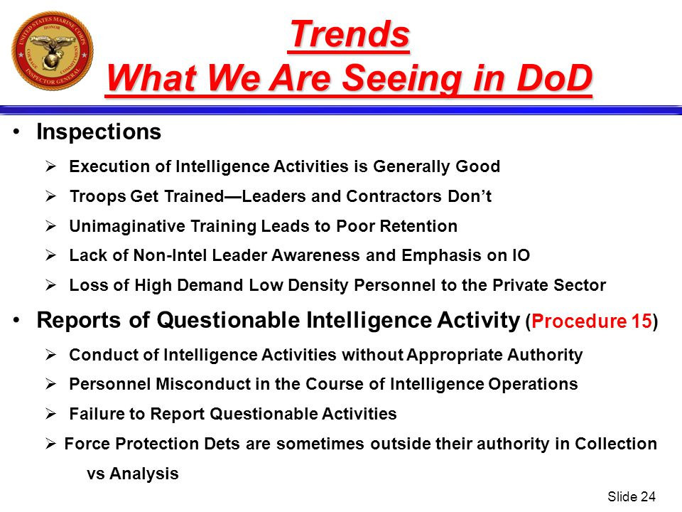 What We Are Seeing in DoD