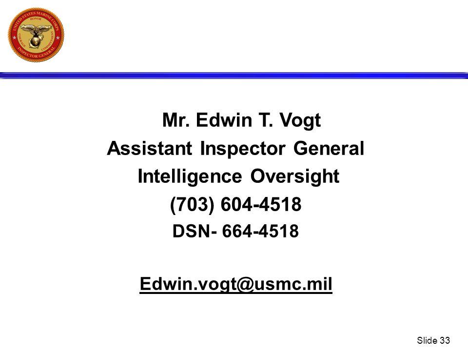Assistant Inspector General Intelligence Oversight