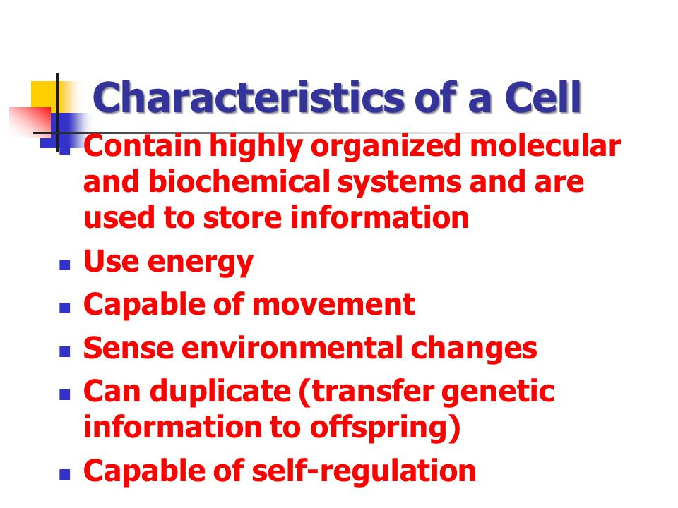 Characteristics of a Cell