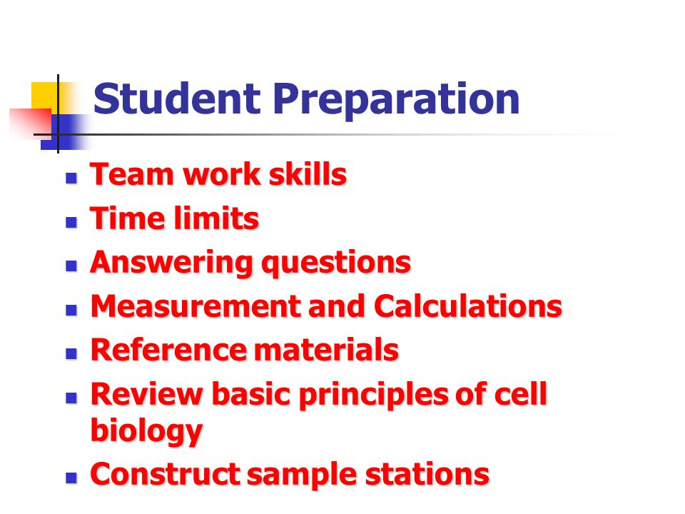 Student Preparation Team work skills Time limits Answering questions