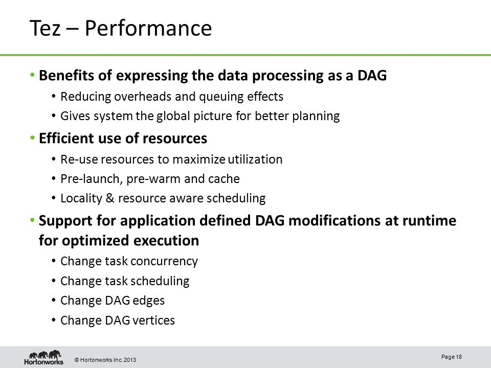 Tez – Performance Benefits of expressing the data processing as a DAG