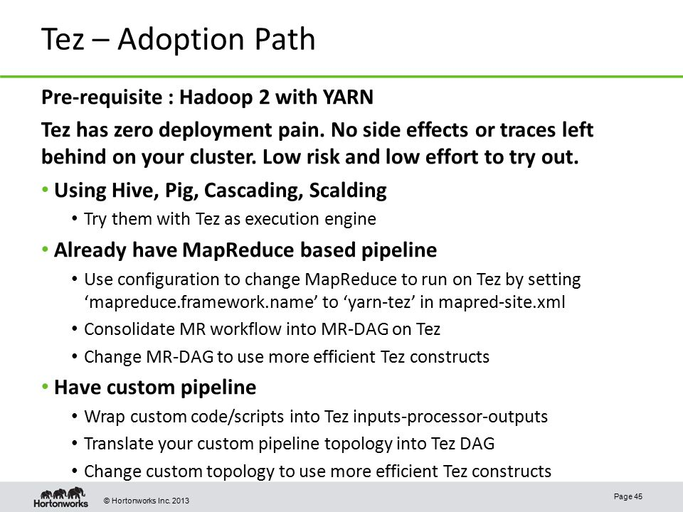 Tez – Adoption Path Pre-requisite : Hadoop 2 with YARN