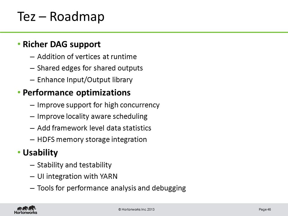 Tez – Roadmap Richer DAG support Performance optimizations Usability