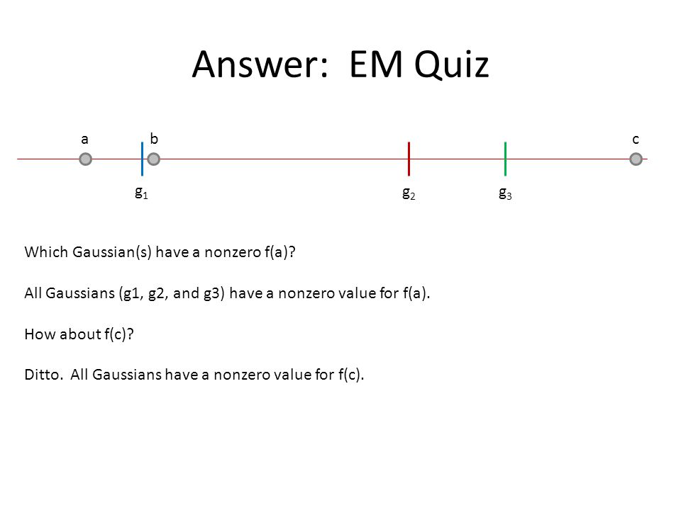 Answer: EM Quiz a b c g1 g2 g3 Which Gaussian(s) have a nonzero f(a)