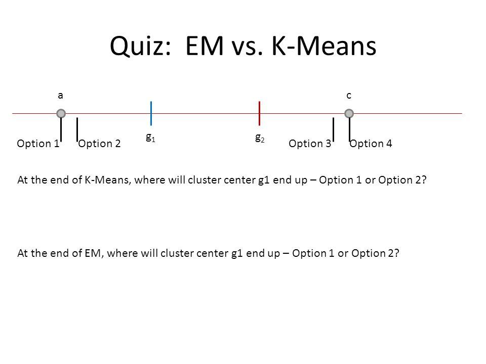 Quiz: EM vs. K-Means a c g1 g2 Option 1 Option 2 Option 3 Option 4