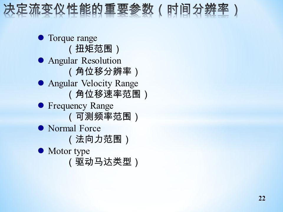 决定流变仪性能的重要参数(时间分辨率) Torque range (扭矩范围) Angular Resolution (角位移分辨率)