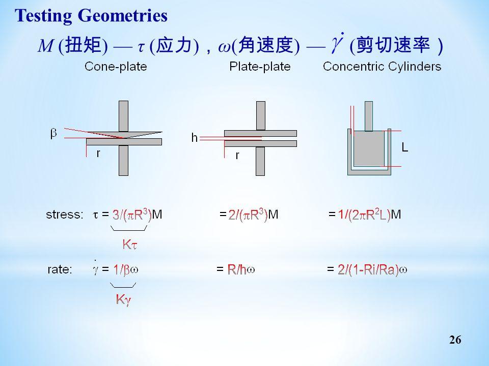 Testing Geometries M (扭矩) — τ (应力),ω(角速度) — (剪切速率)