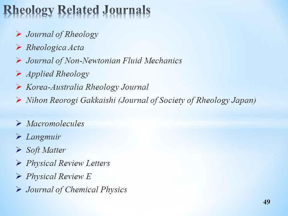 Rheology Related Journals