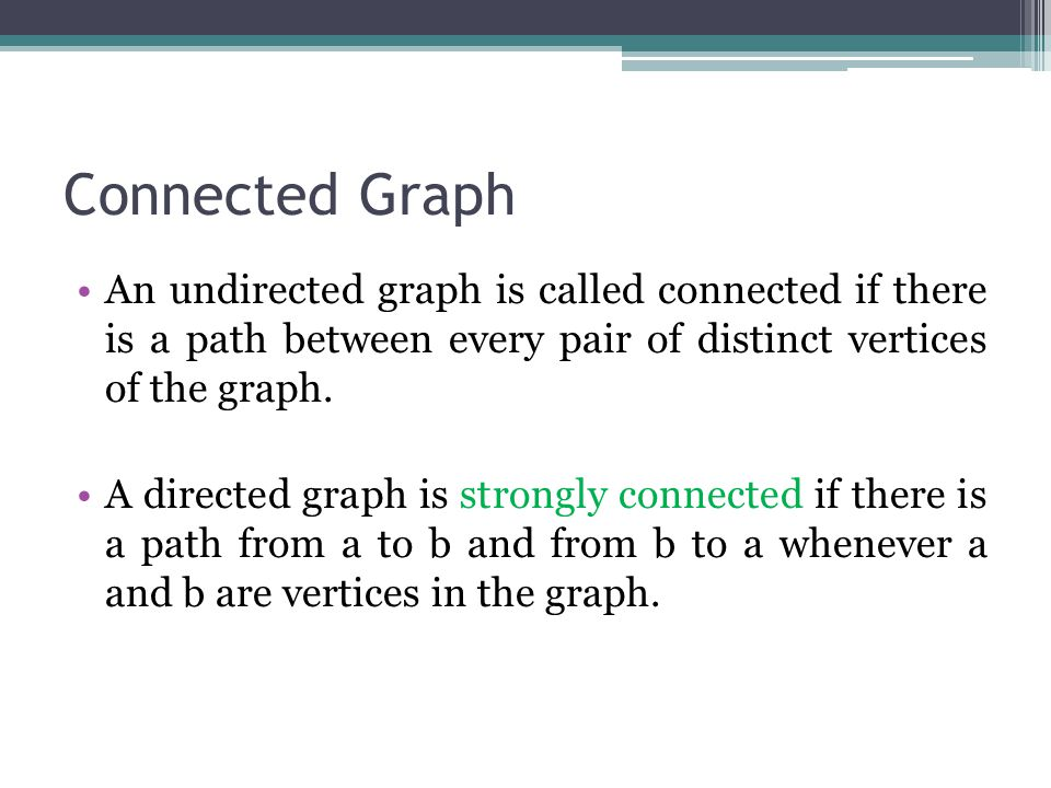 Connected Graph An undirected graph is called connected if there is a path between every pair of distinct vertices of the graph.