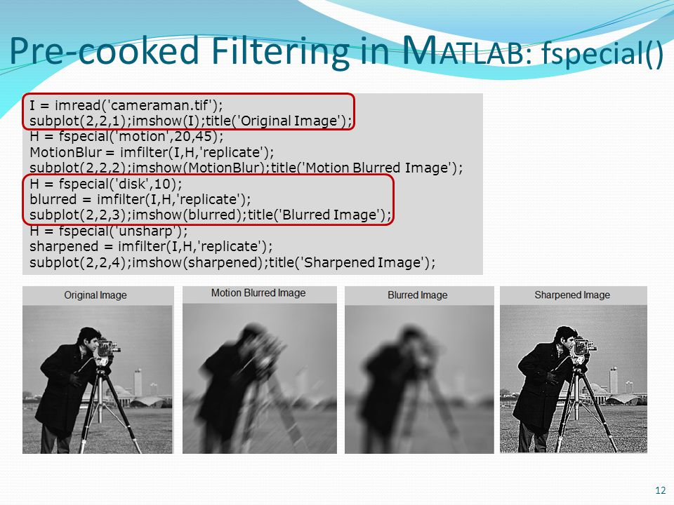 Pre-cooked Filtering in MATLAB: fspecial()