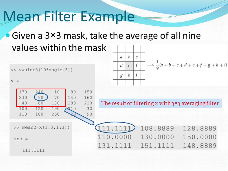 Mean Filter Example Given a 3×3 mask, take the average of all nine values within the mask.