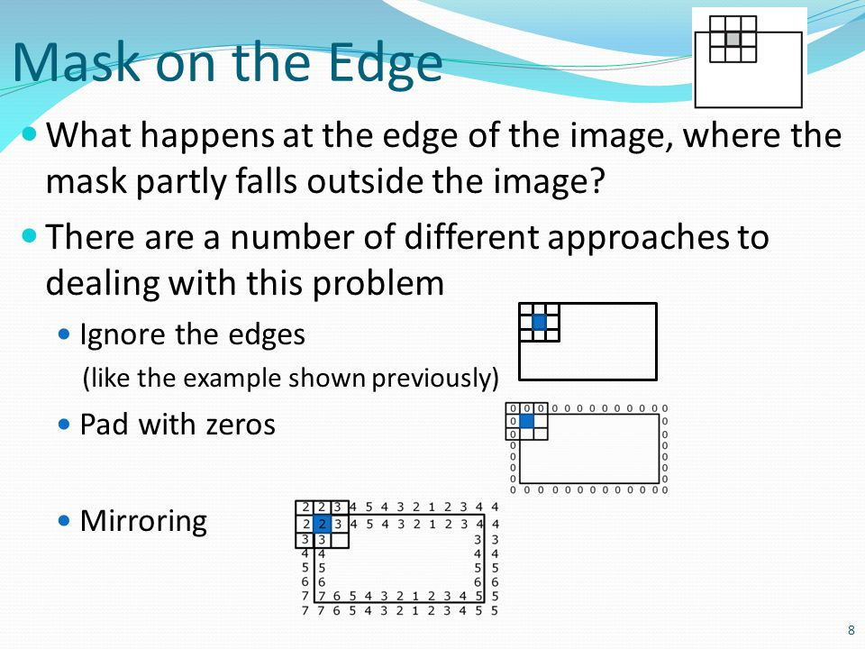 Mask on the Edge What happens at the edge of the image, where the mask partly falls outside the image