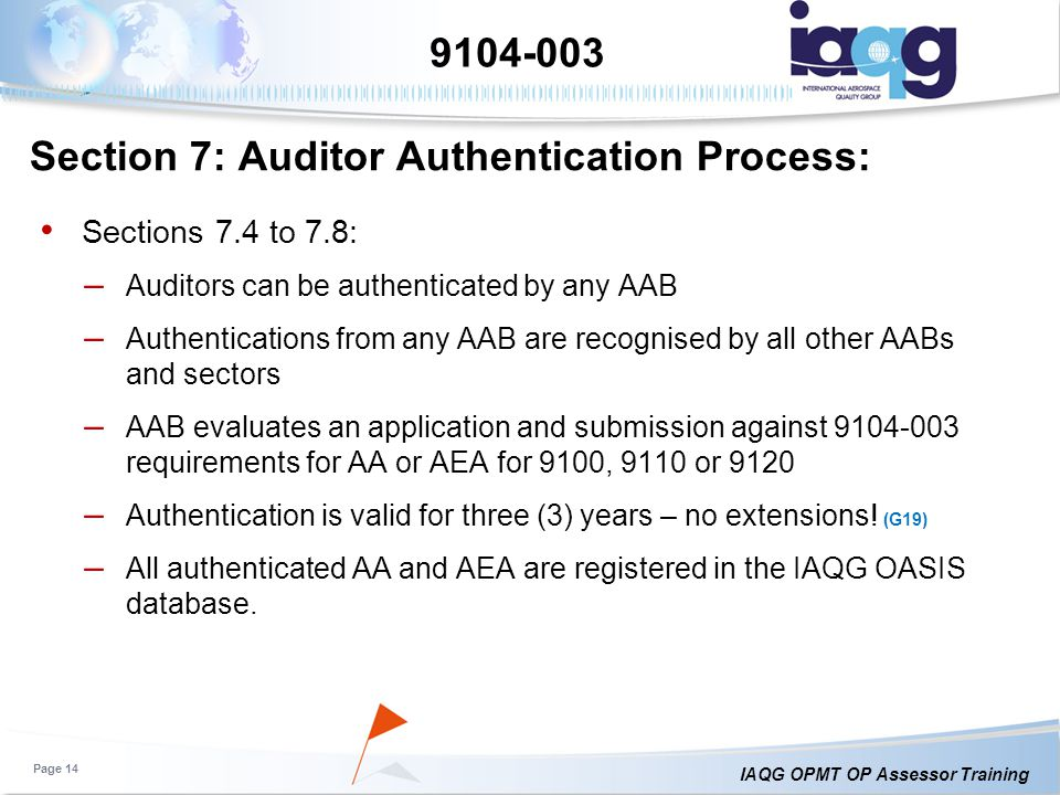Section 7: Auditor Authentication Process: