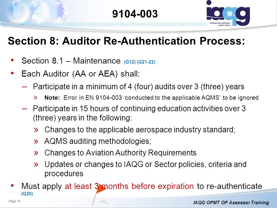 Section 8: Auditor Re-Authentication Process: