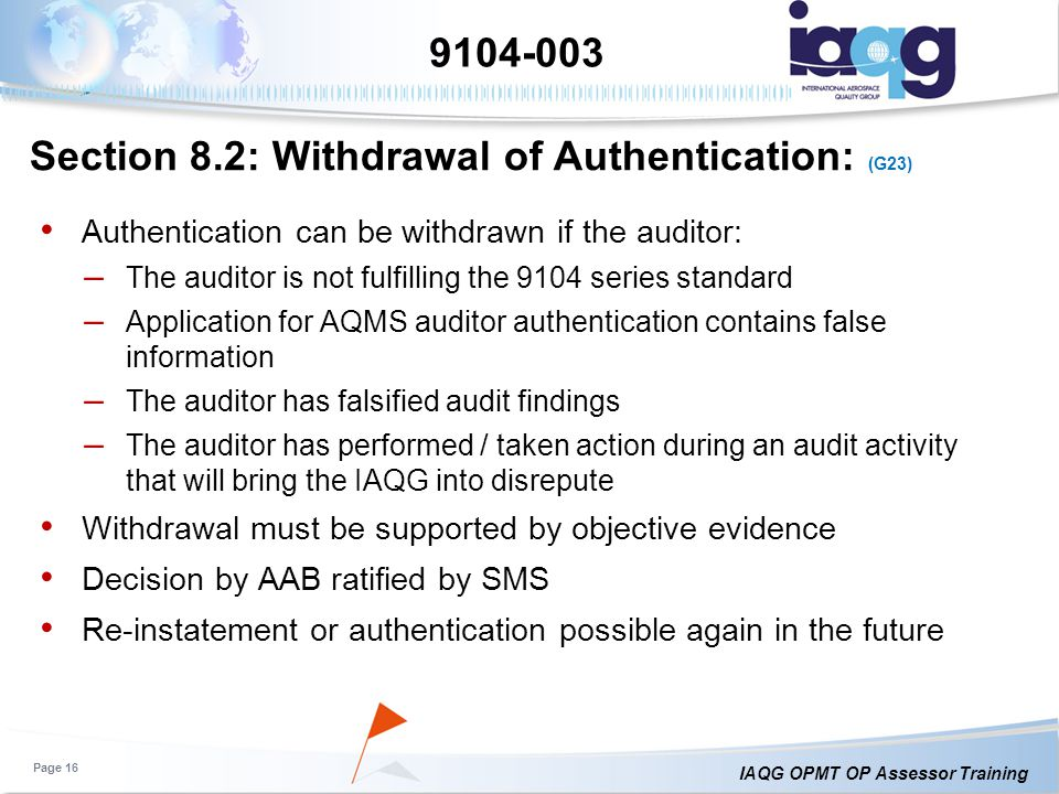 Section 8.2: Withdrawal of Authentication: (G23)