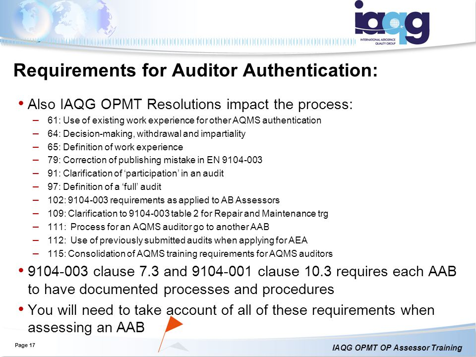 Requirements for Auditor Authentication: