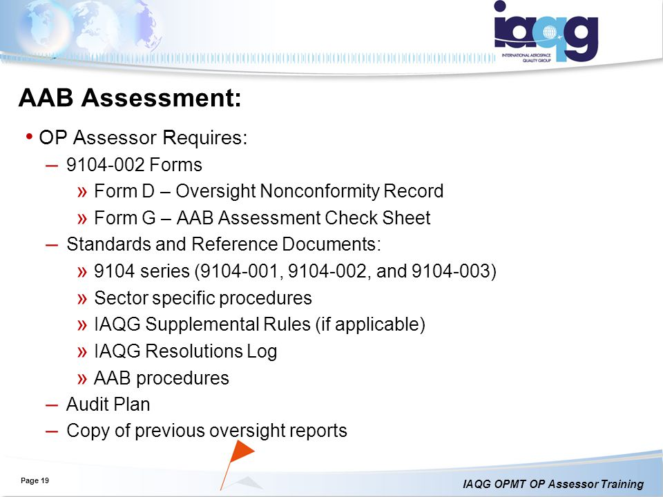 AAB Assessment: OP Assessor Requires: Forms