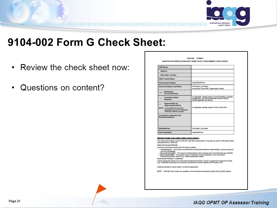 Form G Check Sheet: Review the check sheet now:
