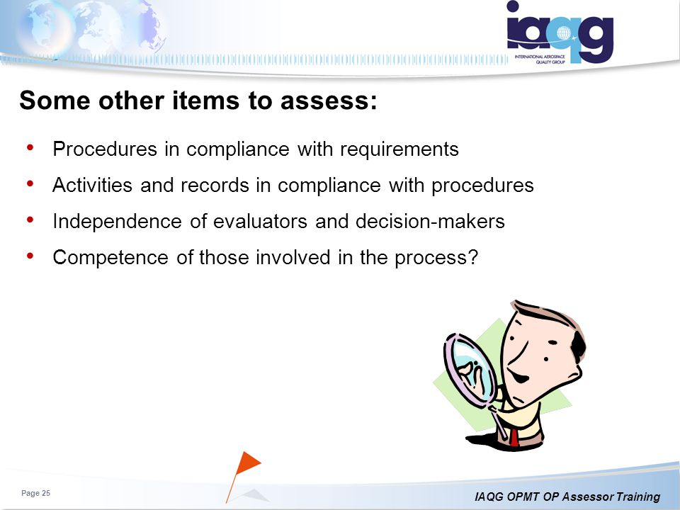 Some other items to assess:
