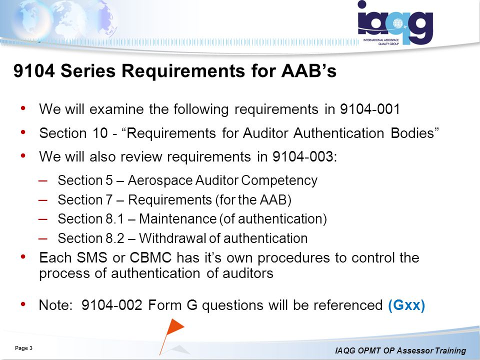 9104 Series Requirements for AAB's