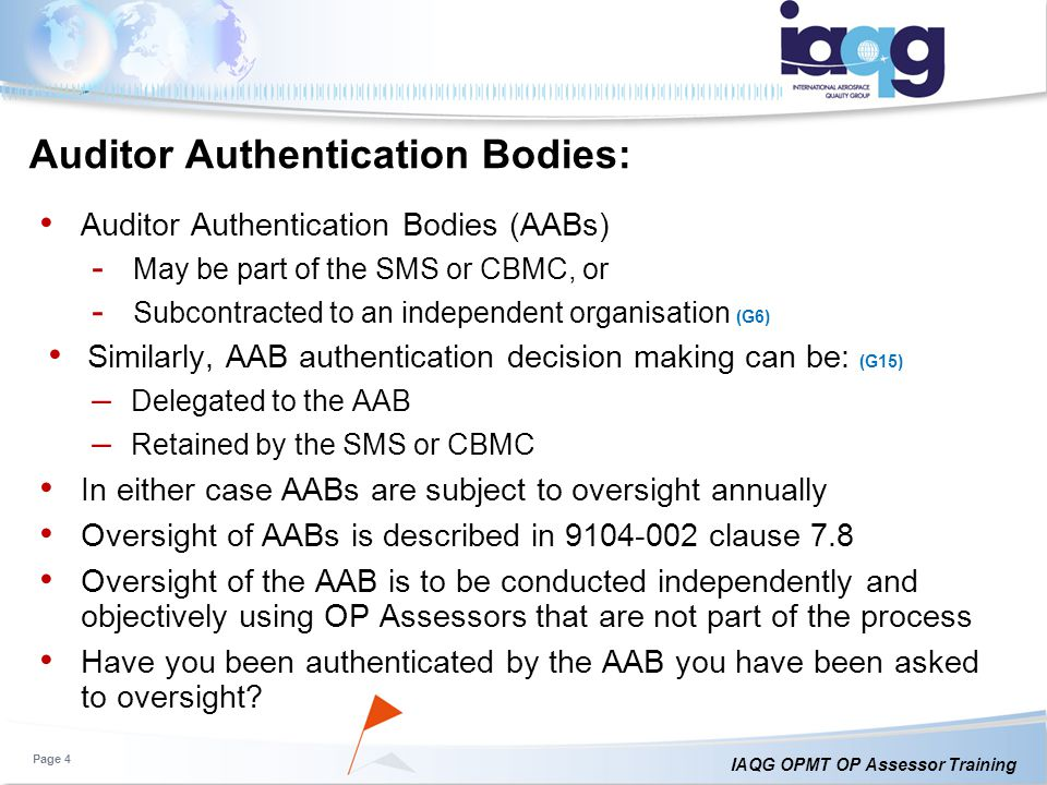 Auditor Authentication Bodies: