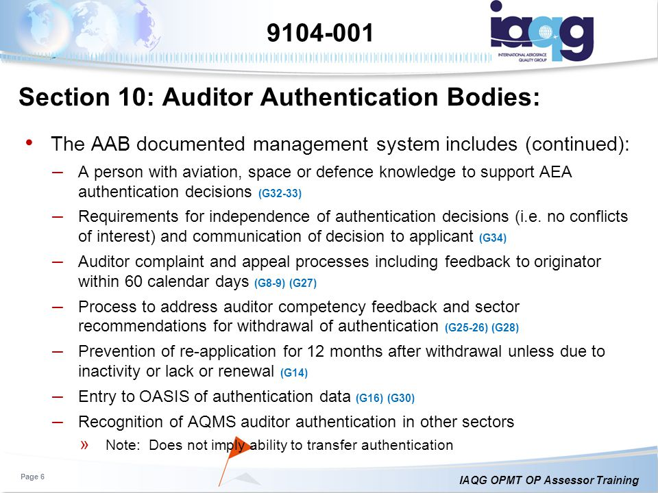 Section 10: Auditor Authentication Bodies: