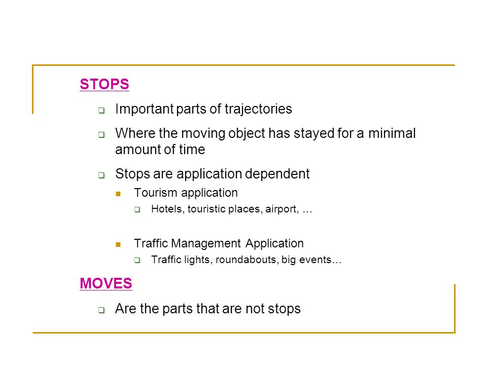 The Model of Stops and Moves (Spaccapietra 2008)