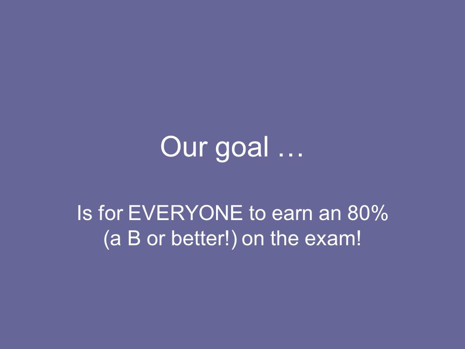 Is for EVERYONE to earn an 80% (a B or better!) on the exam!