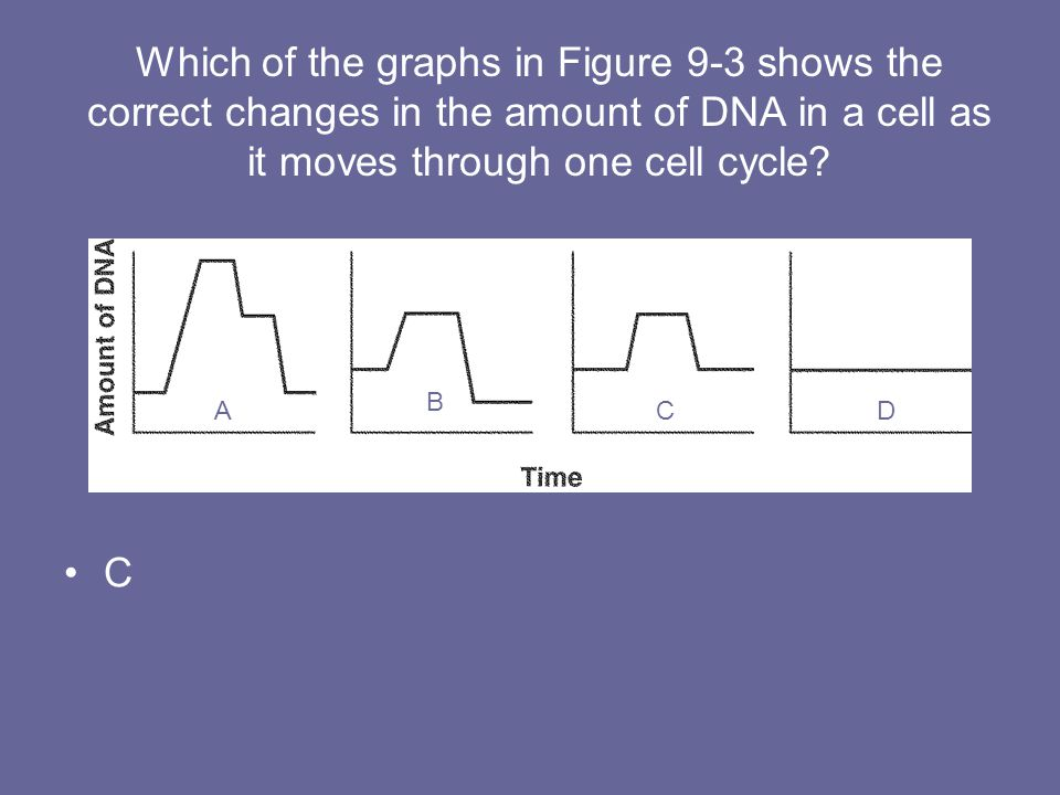 Which of the graphs in Figure 9-3 shows the correct changes in the amount of DNA in a cell as it moves through one cell cycle
