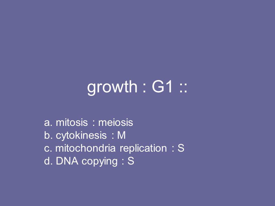 growth : G1 :: a. mitosis : meiosis b. cytokinesis : M