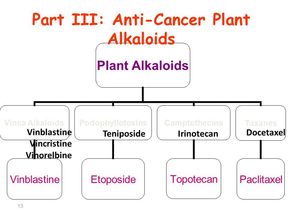Part III: Anti-Cancer Plant Alkaloids