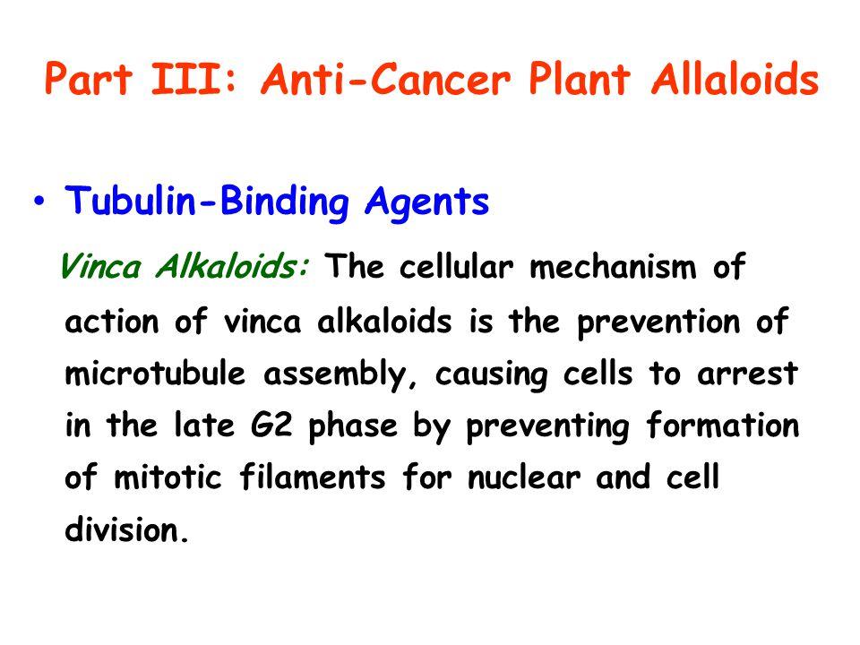 Part III: Anti-Cancer Plant Allaloids