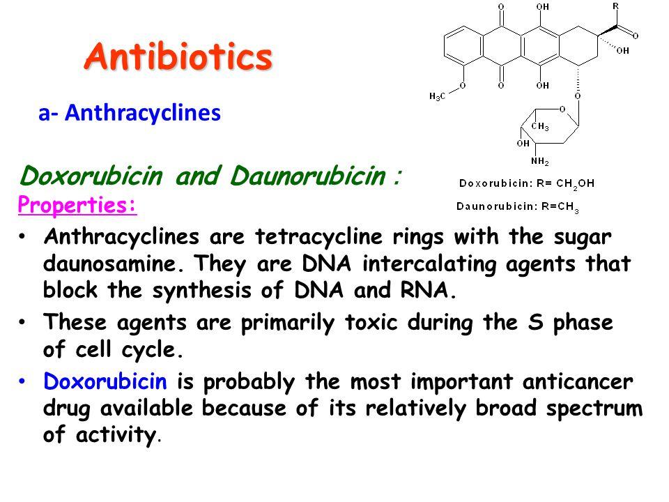 Antibiotics a- Anthracyclines Doxorubicin and Daunorubicin: