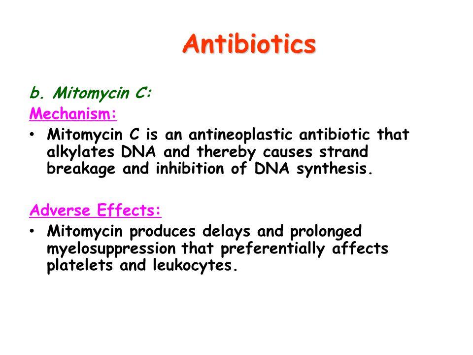 Antibiotics b. Mitomycin C: Mechanism:
