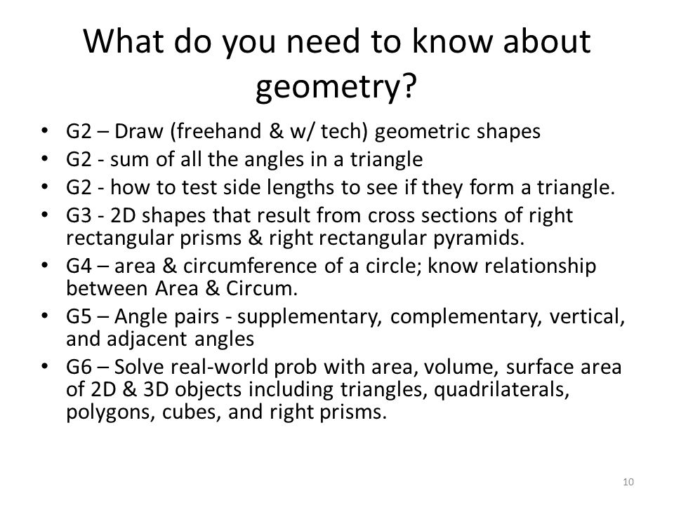 What do you need to know about geometry