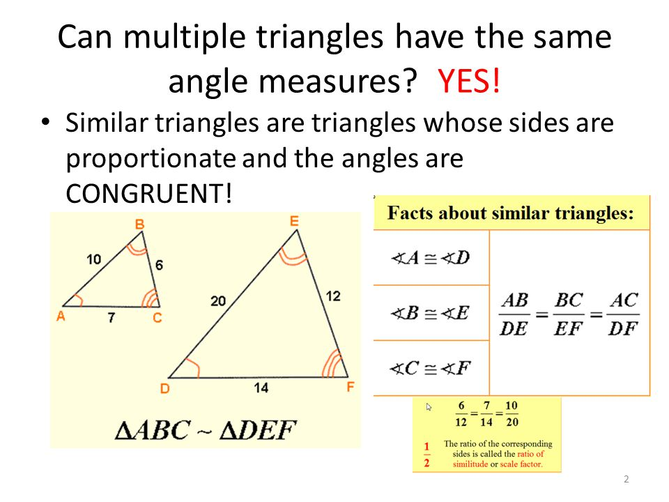 Can multiple triangles have the same angle measures YES!