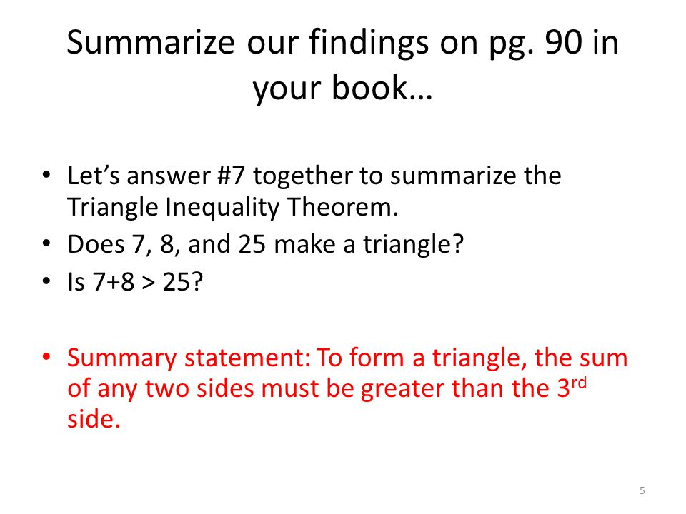 Summarize our findings on pg. 90 in your book…