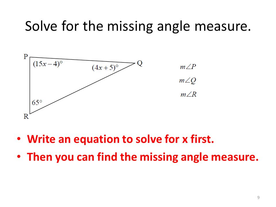 Solve for the missing angle measure.