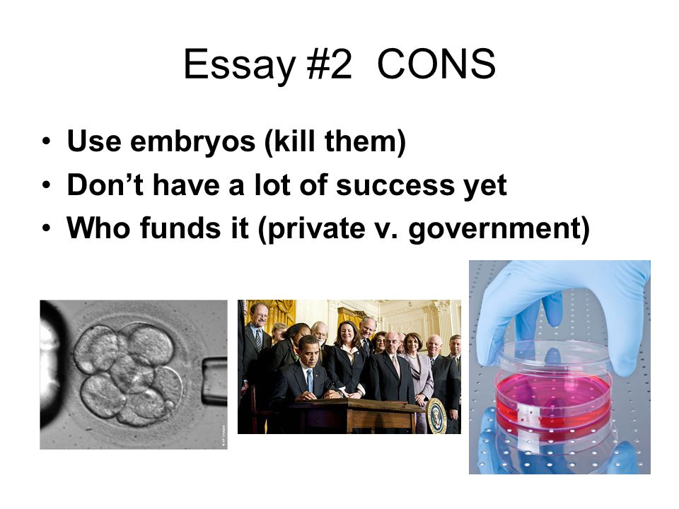 Essay #2 CONS Use embryos (kill them) Don't have a lot of success yet