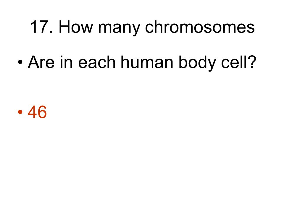 17. How many chromosomes Are in each human body cell 46