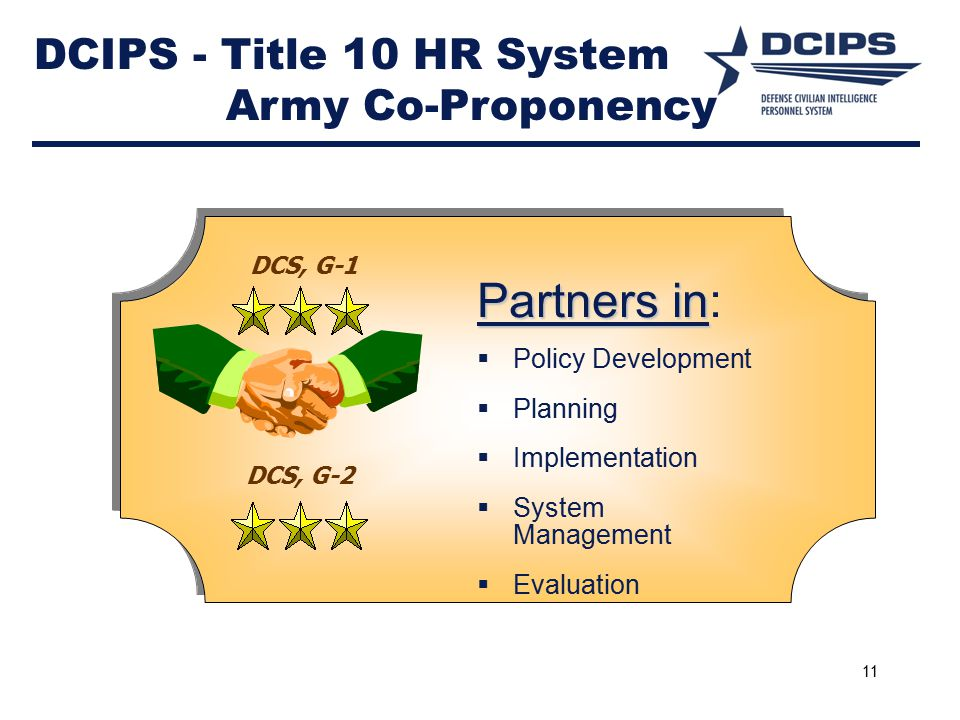 DCIPS - Title 10 HR System Army Co-Proponency