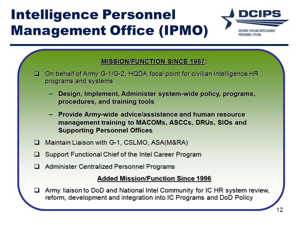 Intelligence Personnel Management Office (IPMO)