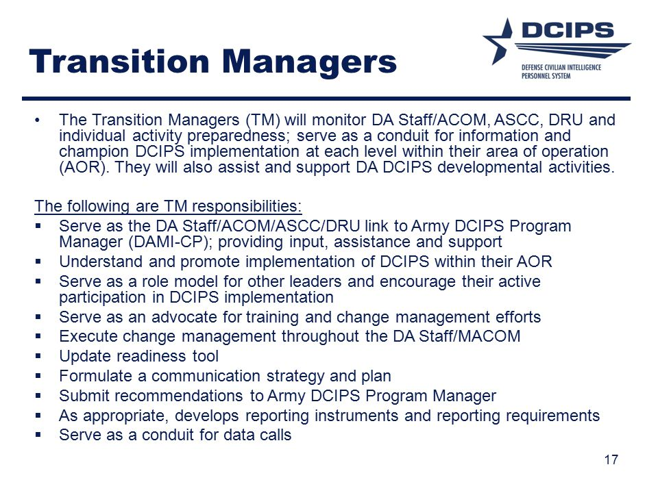 Transition Managers
