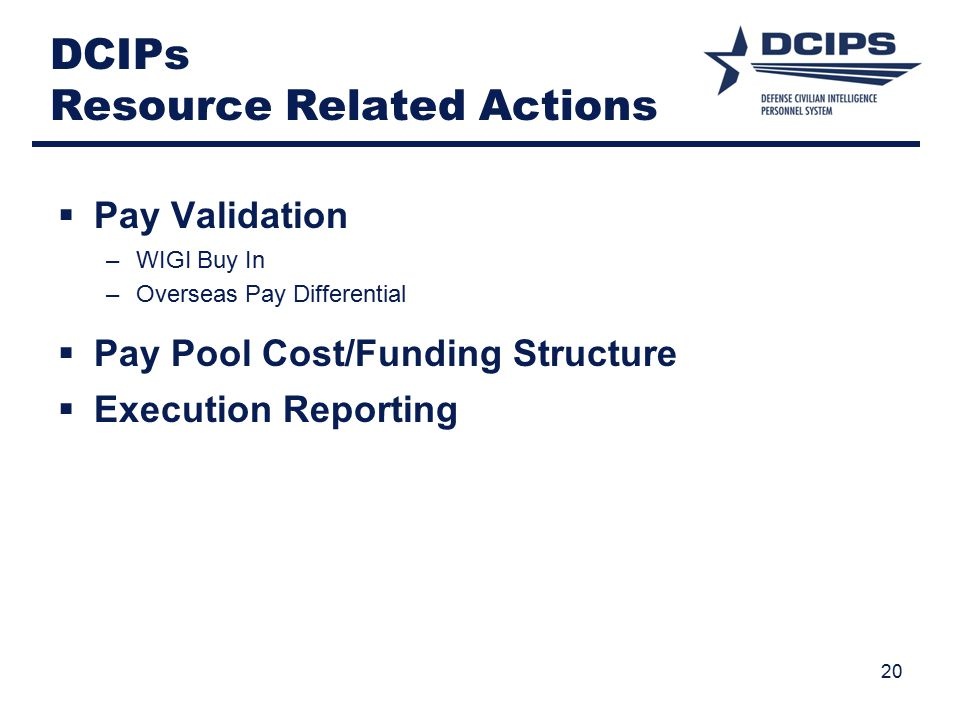 DCIPs Resource Related Actions