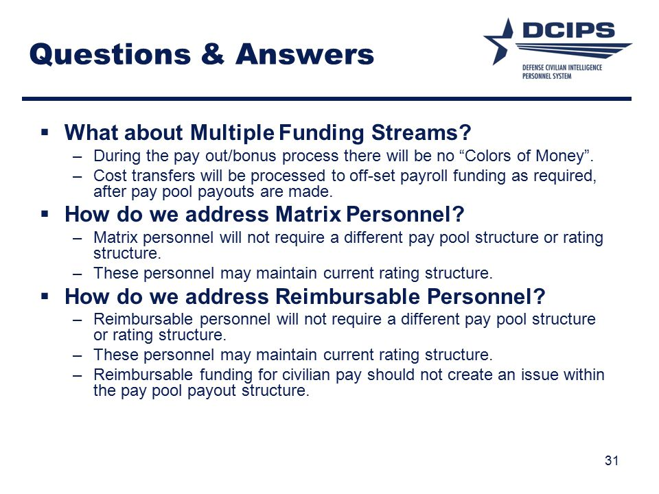 Questions & Answers What about Multiple Funding Streams