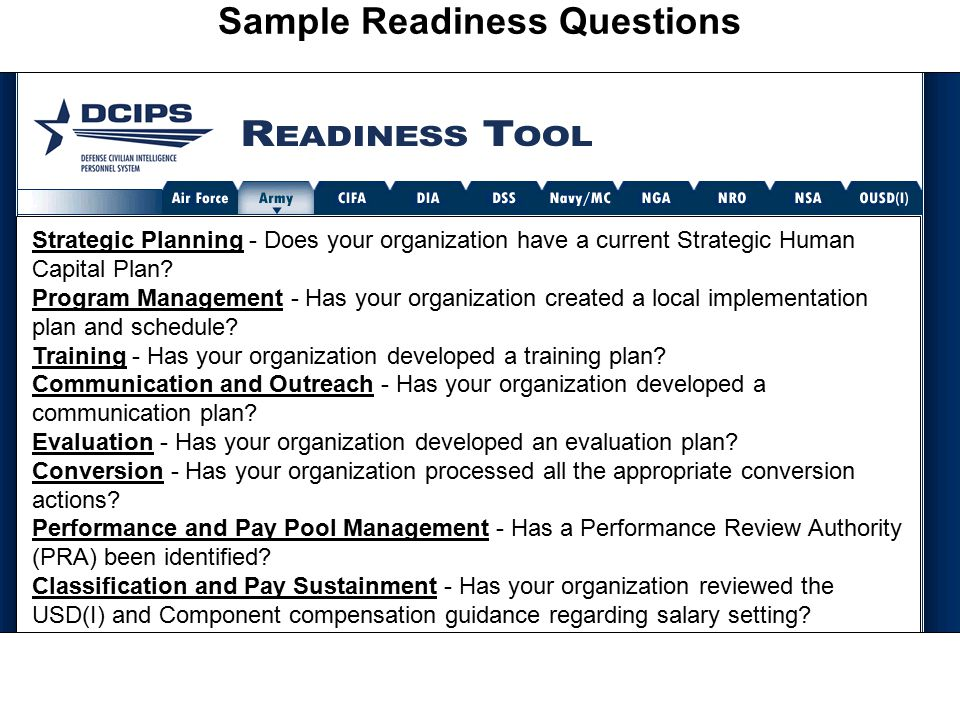 Sample Readiness Questions