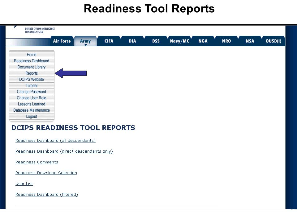 Readiness Tool Reports