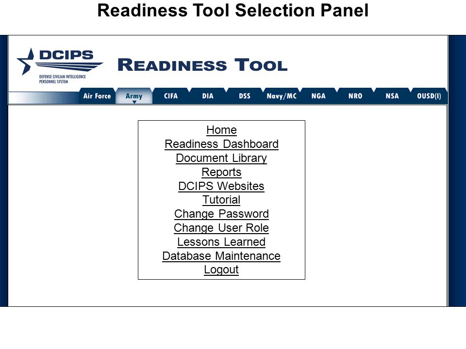 Readiness Tool Selection Panel